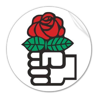 Den internationella symbolen för socialdemokrati, en hand som håller en ros.